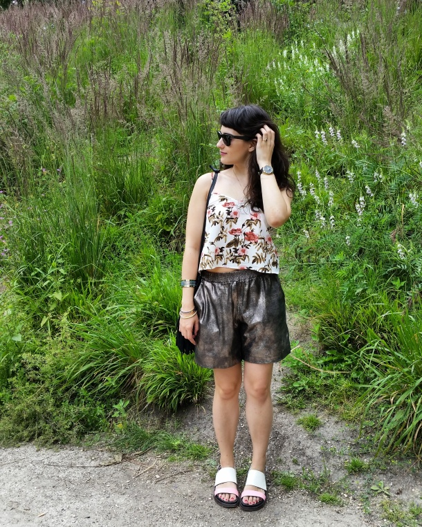 Call Me Katie - What I Wore - gold leather shorts and a palm print vest top for a weekend walk in the park 2