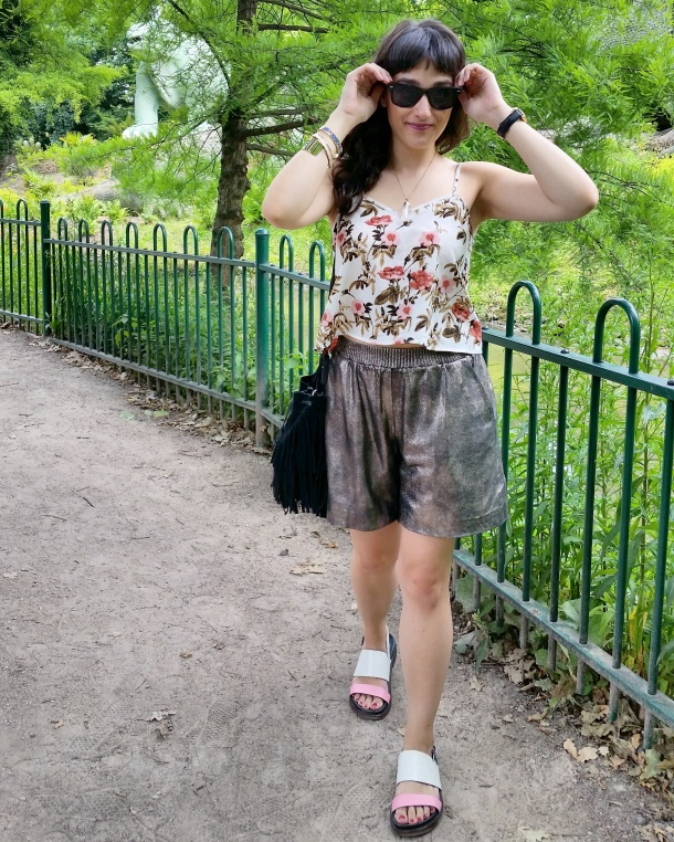 Call Me Katie - What I Wore - gold leather shorts and a palm print vest top for a weekend walk in the park 5