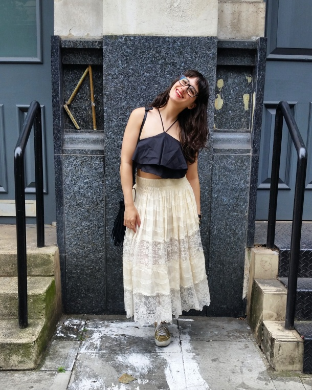 Call Me Katie - What I Wore - Lace Skirt and Zara crop top with gold trainers for a weekend look 10