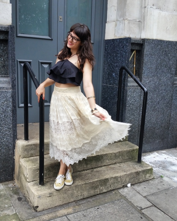 Call Me Katie - What I Wore - Lace Skirt and Zara crop top with gold trainers for a weekend look 3