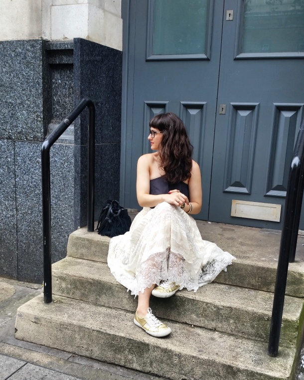 Call Me Katie - What I Wore - Lace Skirt and Zara crop top with gold trainers for a weekend look 4
