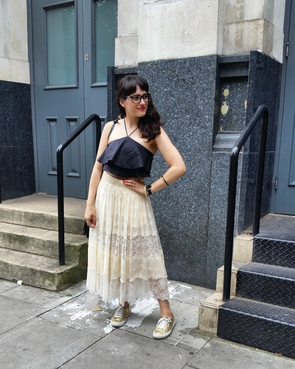 Call Me Katie - What I Wore - Lace Skirt and Zara crop top with gold trainers for a weekend look 8