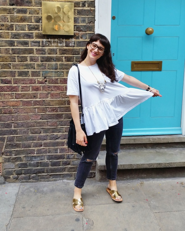 Call Me Katie - What I Wore - white smock top with peplum and ripped mom jeans for a day at the office 1