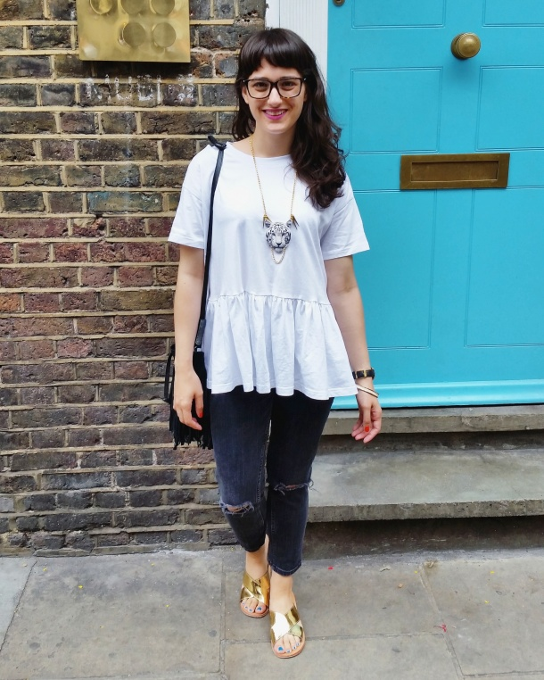 Call Me Katie - What I Wore - white smock top with peplum and ripped mom jeans for a day at the office 2