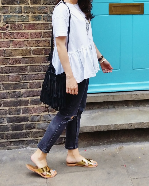 Call Me Katie - What I Wore - white smock top with peplum and ripped mom jeans for a day at the office 3