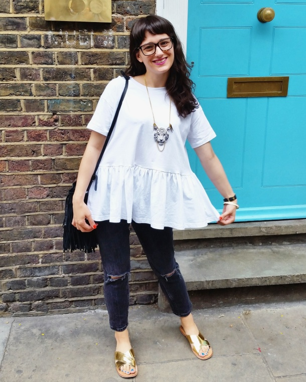 Call Me Katie - What I Wore - white smock top with peplum and ripped mom jeans for a day at the office 5