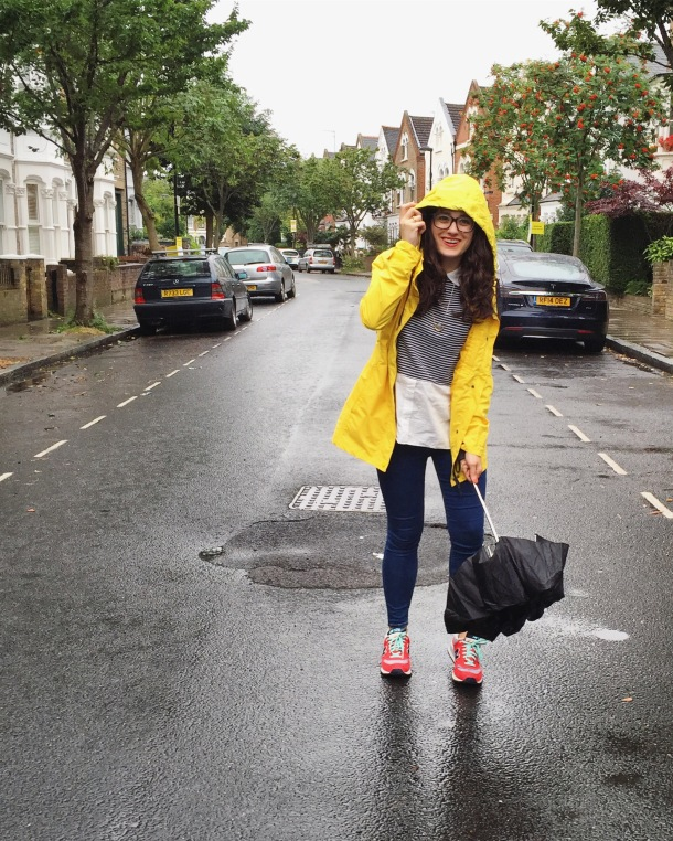 Call Me Katie - What I wore on a rainy day- Lighthouse Beachcomber Waterproof Coat in Sunbeam 1