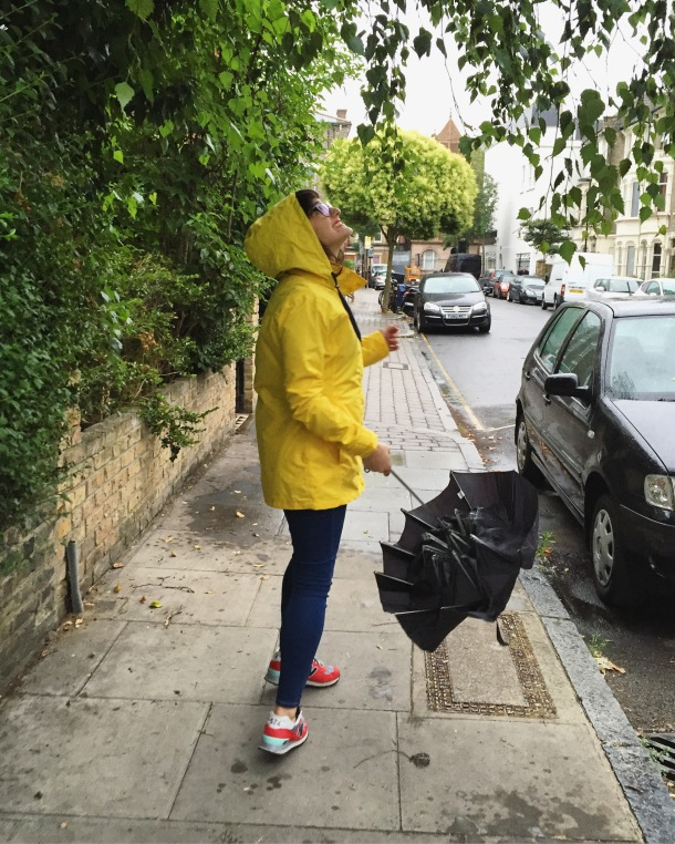 Call Me Katie - What I wore on a rainy day- Lighthouse Beachcomber Waterproof Coat in Sunbeam 10