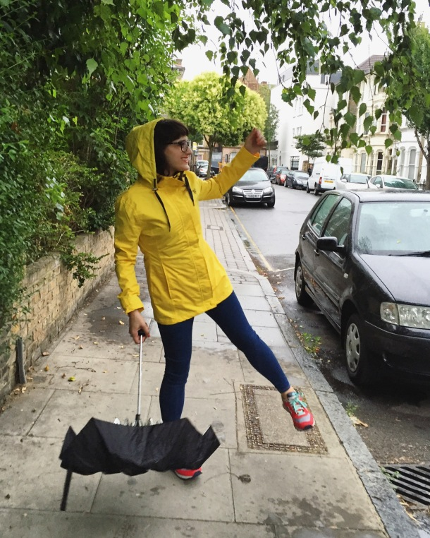 Call Me Katie - What I wore on a rainy day- Lighthouse Beachcomber Waterproof Coat in Sunbeam 11