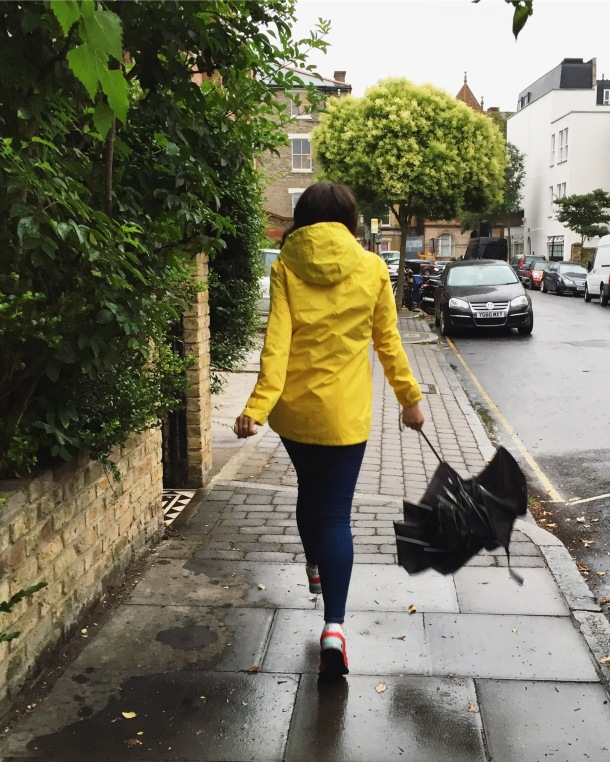Call Me Katie - What I wore on a rainy day- Lighthouse Beachcomber Waterproof Coat in Sunbeam 12
