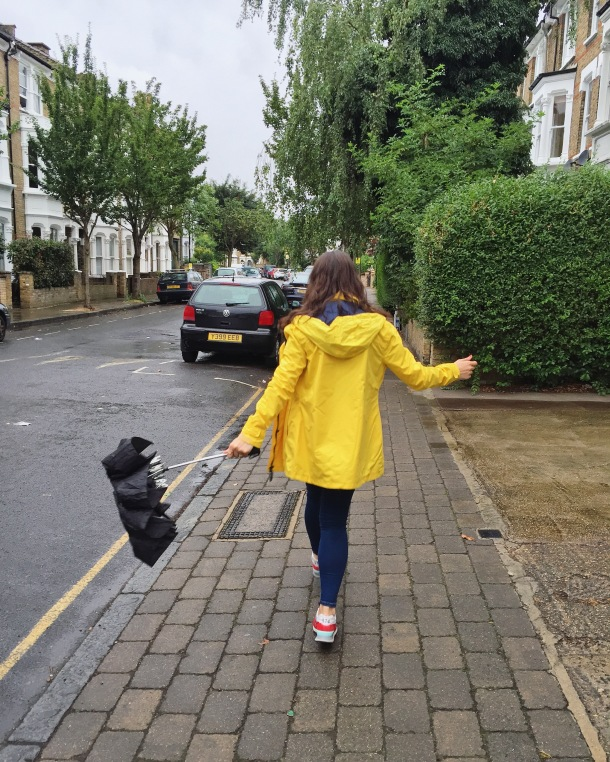 Call Me Katie - What I wore on a rainy day- Lighthouse Beachcomber Waterproof Coat in Sunbeam 2