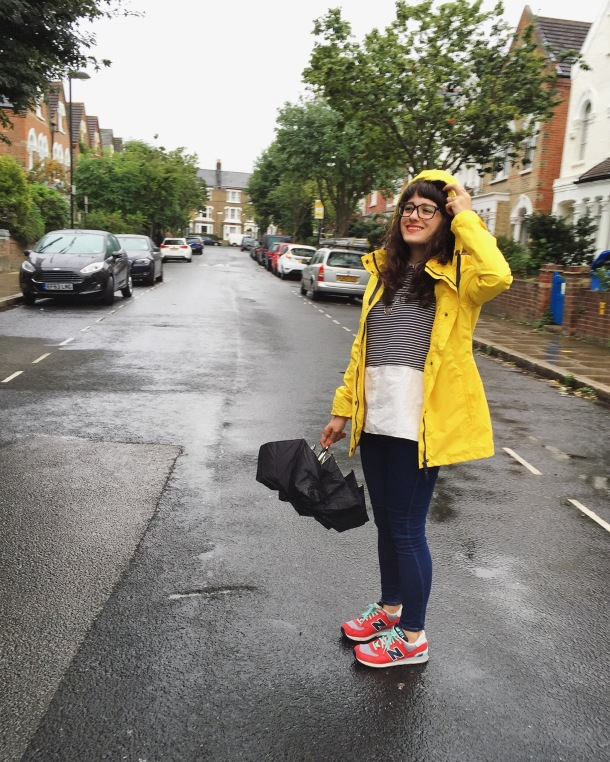 Call Me Katie - What I wore on a rainy day- Lighthouse Beachcomber Waterproof Coat in Sunbeam 4