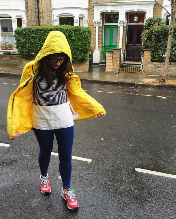 Call Me Katie - What I wore on a rainy day- Lighthouse Beachcomber Waterproof Coat in Sunbeam 6