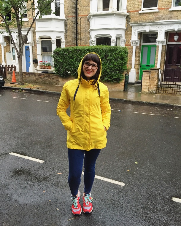 Call Me Katie - What I wore on a rainy day- Lighthouse Beachcomber Waterproof Coat in Sunbeam 7
