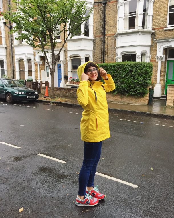 Call Me Katie - What I wore on a rainy day- Lighthouse Beachcomber Waterproof Coat in Sunbeam 8