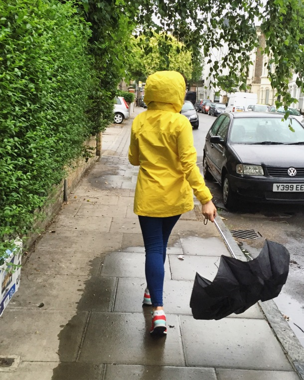 Call Me Katie - What I wore on a rainy day- Lighthouse Beachcomber Waterproof Coat in Sunbeam 9