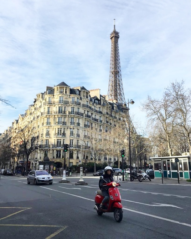 Call Me Katie - Instagramable Spots in Paris - Eiffel Tower peaking over a building