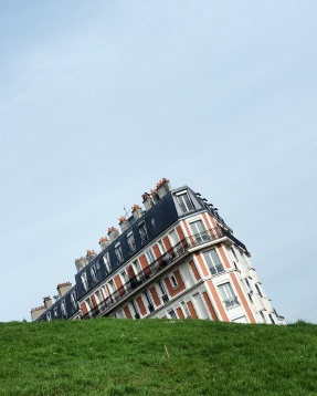 Call Me Katie - Instagramable Spots in Paris - Montmartre - the sinking house as seen from the steps of the Sacre Coeur