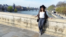 Call Me Katie - What I Wore In Paris - Zara Fedora Kate Spade Bag Levi Jeans Converse by the Seine