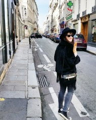 Call Me Katie - What I Wore In Paris - Zara Fedora Kate Spade Bag Levi Jeans Converse with a baguette