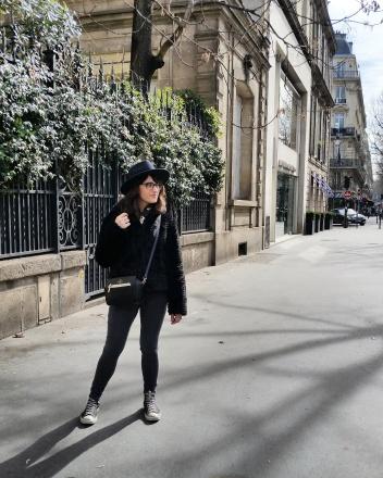Call Me Katie - What I Wore In Paris - Zara Fedora Kate Spade Bag Levi Jeans Faux Fur Coat 1