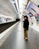 Call Me Katie - What I Wore In Paris - Zara Fedora Kate Spade Bag Topshop Gold Pleat Trousers ASOS wedge heels 4