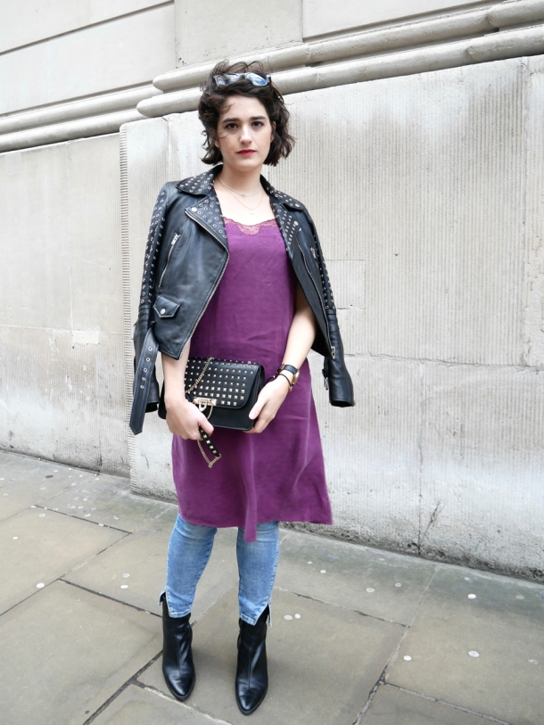 Call Me Katie What I Wore Styling Purple Cami Dress Two Ways for Day and Night with Jeans Leather Jacket White Trainers and Black Boots - 11