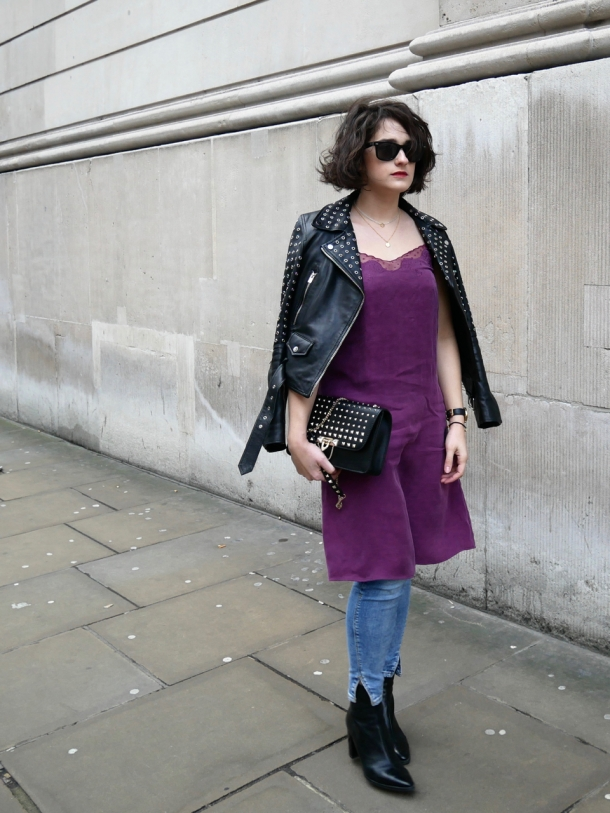 Call Me Katie What I Wore Styling Purple Cami Dress Two Ways for Day and Night with Jeans Leather Jacket White Trainers and Black Boots - 13