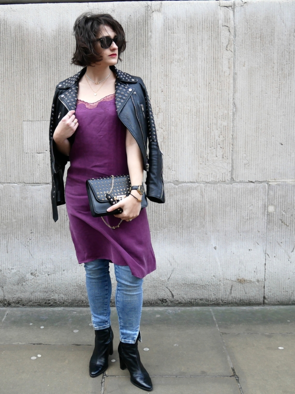 Call Me Katie What I Wore Styling Purple Cami Dress Two Ways for Day and Night with Jeans Leather Jacket White Trainers and Black Boots - 14